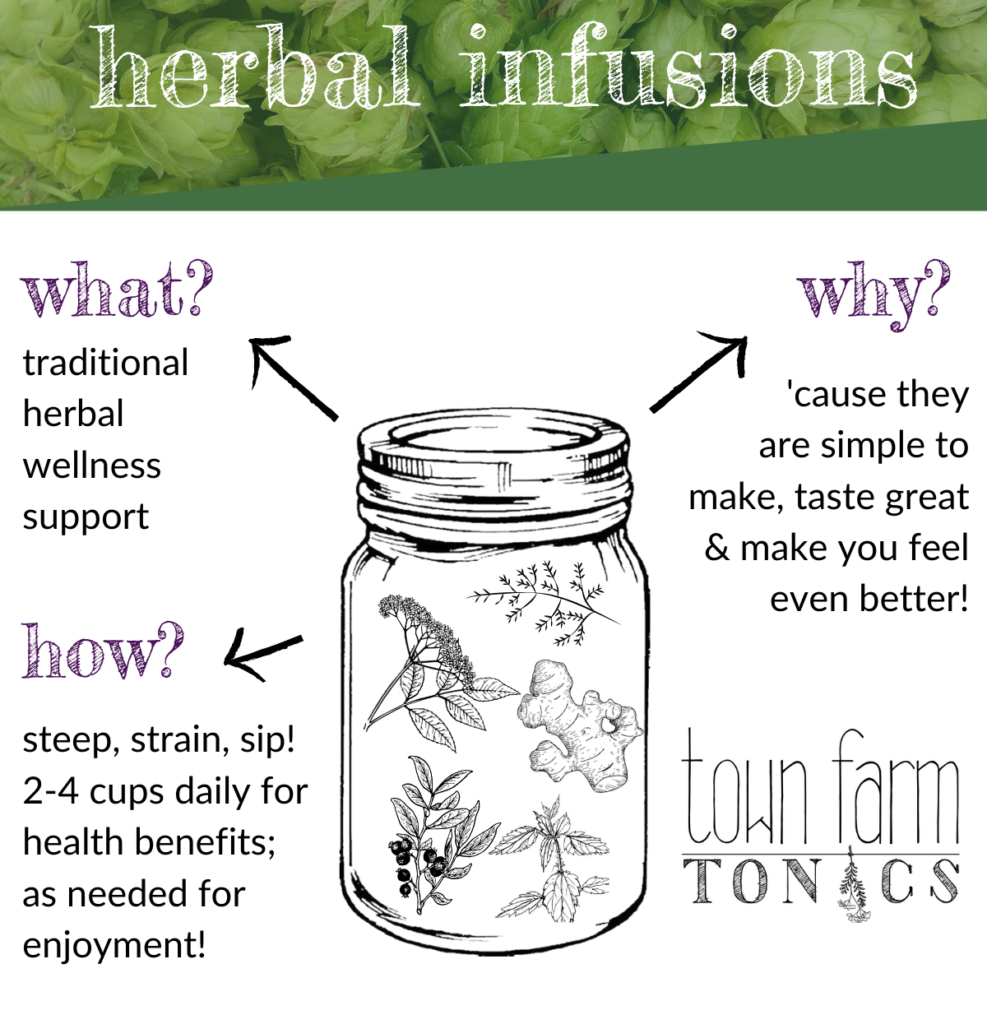 herbal infusions: what why and how to make a nourishing herbal infusion info graphic