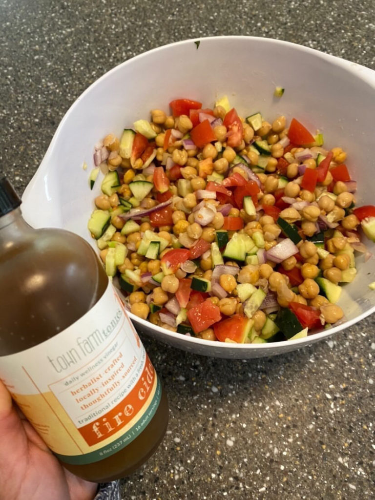 summer chickpea salad made with fire cider