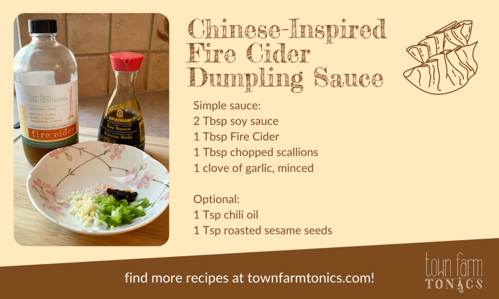 Recipe for Chinese-inspired dumpling sauce using TFT Fire Cider