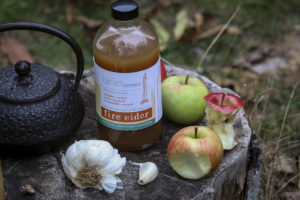 TFT Fire Cider contains Garlic which has anti-microbial properties to fight again harmful bacteria