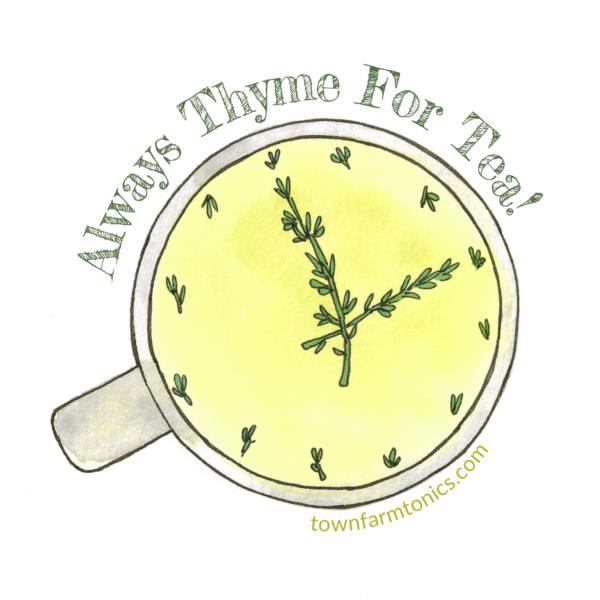 always thyme for tea herbal pun sticker for laptop, water bottle or car