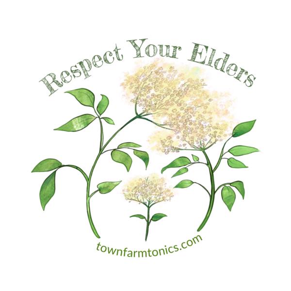 respect your elders herbal pun sticker for laptop, water bottle or car
